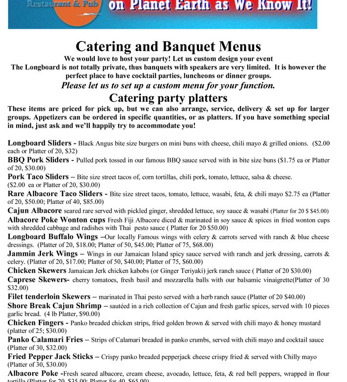 Catering and Banquet Menus