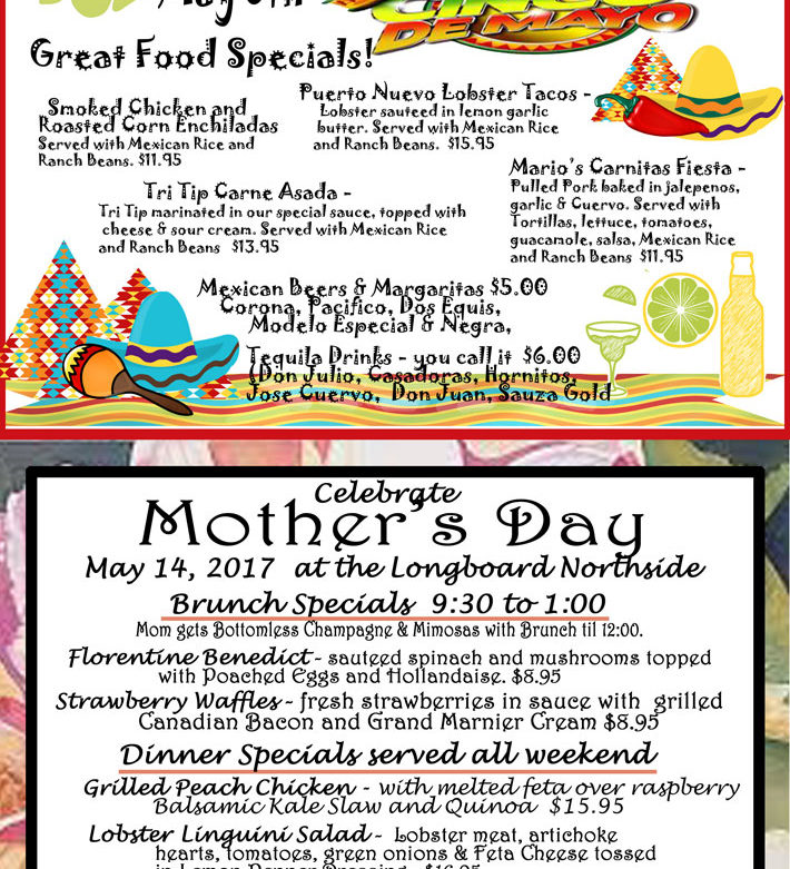 Cinco De Mayo and Mothers Day Specials