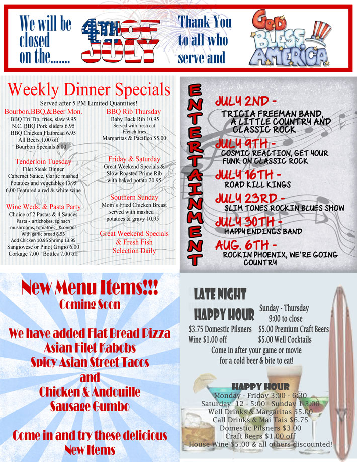 July Schedule and Schedules – Longboard Restaurant