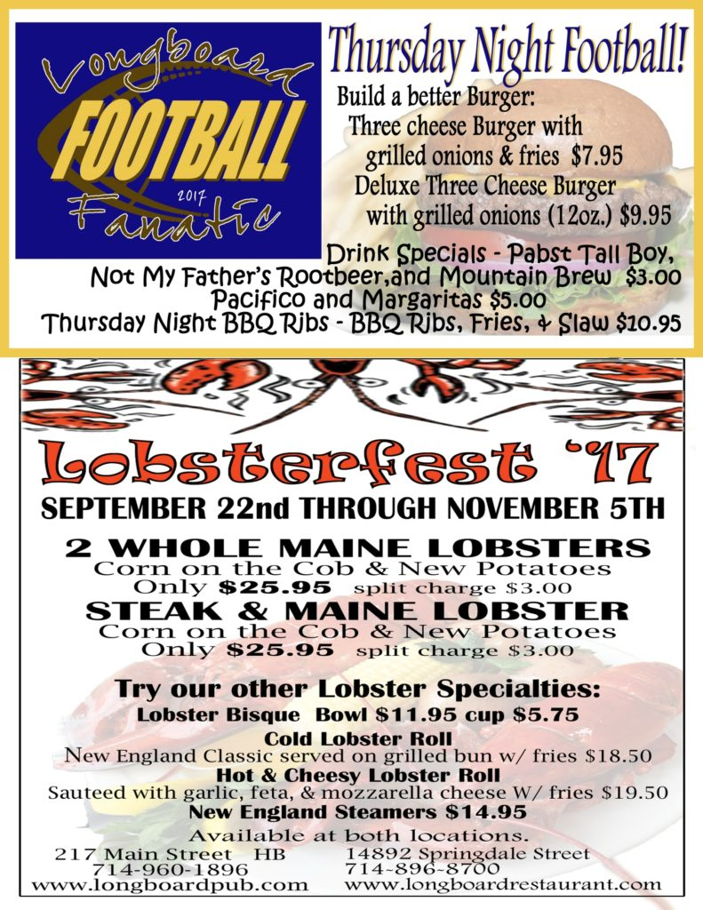 Lobsterfest '17 & Thursday Night Football